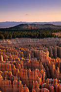 Sunrise light along the rim of Bryce Canyon from Inspiration Point Bryce Canyon National Park, UTAH