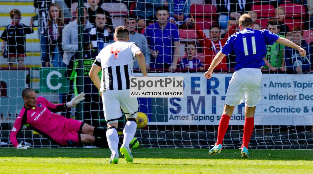 Dunfermline Athletic v Cowdenbeath SPFL League One Season 2015/16 East End Park 15 August 2015<br /> Sean Murdoch saves Greig Spence's penalty<br /> CRAIG BROWN | sportPix.org.uk