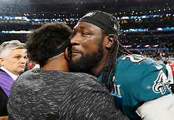 Philadelphia Eagles running back LeGarrette Blount is emotional after his team defeated the New England Patriots in Super Bowl LII on Sunday, February 4, 2018, in Minneapolis, Minn. Blount played with the Patriots last year in Super Bowl LI. He scored a touchdown on Sunday in the second quarter. Photo by Carlos Gonzalez/Minneapolis Star Tribune/TNS/ABACAPRESS.COM