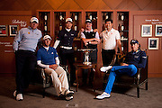Ballantine's Championship pre-tournament photocall. L-R Dustin Johnson, Ian Poulter, YE Yang, Lee Westwood and Miguel Angel Jiminez.