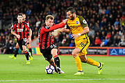 Ryan Fraser (24) of AFC Bournemouth is nudged off the ball by Tomer Hemed (10) of Brighton and Hove Albion during the Premier League match between Bournemouth and Brighton and Hove Albion at the Vitality Stadium, Bournemouth, England on 15 September 2017. Photo by Graham Hunt.
