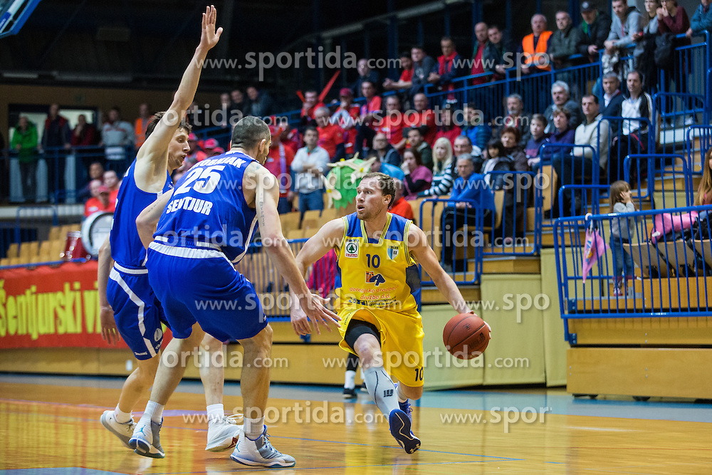 Dragisa Drobnja & Sebic Milan of KK Tajfun Sentjur and Jersin Boris of KK Sencur GGD during basketball match between KK Sencur  GGD and KK Tajfun Sentjur for Spar cup 2016, on 16th of February , 2016 in Sencur, Sencur Sports hall, Slovenia. Photo by Grega Valancic / Sportida.com