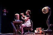 """Serena Marrone, actress, plays """"L'Universo, molto probabilmente"""" at Oscar theatre in Milan, June 9, 2010. The play - The Universe, almost certainly - writen and directed by Riccardo Magherini is a tribute to Douglas Adams author of science fiction novels...Serena Marrone, attrice, recita """"L'Universo, molto probabilmente"""" al teatro Oscar di Milano, 9 giugno 2010. Riccardo Magherini è il regista e l'autore de L'Universo, molto probabilmente, omaggio a Douglas Adams autore di romanzi di fantascienza."""