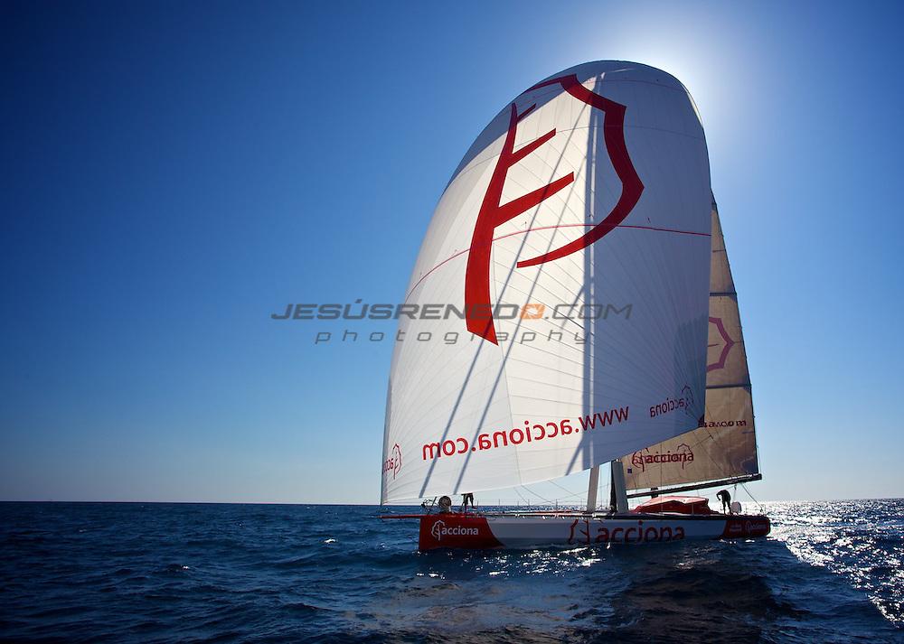 Imoca 60 Acciona 100% ecopowered training in Mallorca.Spain. Mach 18 th 2012 © jrenedo