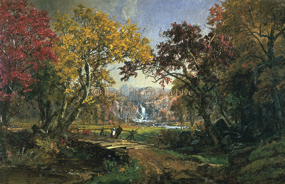 Couple on a Bridge' c1876. Oil on canvas: Jasper Cropsey (1823-1900) American Painter and Architect, Hudson River School. Man and woman chatting on a simple wooden bridge over river running through a valley, foliage beginning to change colour.