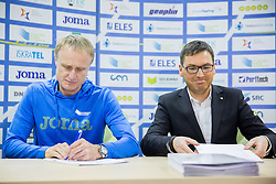 Coach Milan Kranjc and Roman Dobnikar during press conference when Slovenian athletes and their coaches sign contracts with Athletic federation of Slovenia for year 2016, on February 25, 2016 in AZS, Ljubljana, Slovenia. Photo by Vid Ponikvar / Sportida