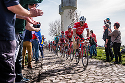 Peloton with John DEGENKOLB from Germany of Trek - Segafredo at the 4 star cobblestone sector 17 from Hornaing to Wandignies during the 2018 Paris-Roubaix race, France, 8 April 2018, Photo by Pim Nijland / PelotonPhotos.com | All photos usage must carry mandatory copyright credit (Peloton Photos | Pim Nijland)