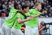 2:2 Jubel v.l. Josuha Guilavogui, Torschuetze Mario Gomez, Maximilian Arnold (Wolfsburg)<br /> Leverkusen, 02.04.2017, Fussball, Bundesliga, Bayer 04 Leverkusen - VfL Wolfsburg<br /> Norway only