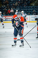 KELOWNA, CANADA - FEBRUARY 18: Logan McVeigh #38 of Kamloops Blazers warms up against the Kelowna Rockets on February 18, 2015 at Prospera Place in Kelowna, British Columbia, Canada.  (Photo by Marissa Baecker/Shoot the Breeze)  *** Local Caption *** Logan McVeigh;