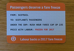 Scottish Labour launch a leaflet promoting their rail fare freeze policy, as well as a further breakdown of the impact of a rail fare freeze.  The leaflet is in the style of a rail ticket.  <br /> <br /> Pictured: New Scottish Labour Fare Freeze Policy leaflet
