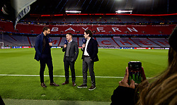 MUNICH, GERMANY - Wednesday, March 13, 2019: BT Sport pundits Rio Ferdinand, Michael Owen and Owen Hargreaves at the Allianz Arena ahead of the UEFA Champions League Round of 16 2nd Leg match between FC Bayern München and Liverpool FC. (Pic by David Rawcliffe/Propaganda)