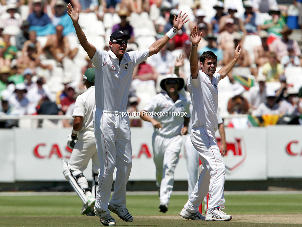 Stuart Broad and Jimmy Anderson appeal for the wicket of Ashwell Prince during the 3rd day of the third test match between South Africa and England held at Newlands Cricket Ground in Cape Town on the 5th January 2010.Photo by: Ron Gaunt/ SPORTZPICS