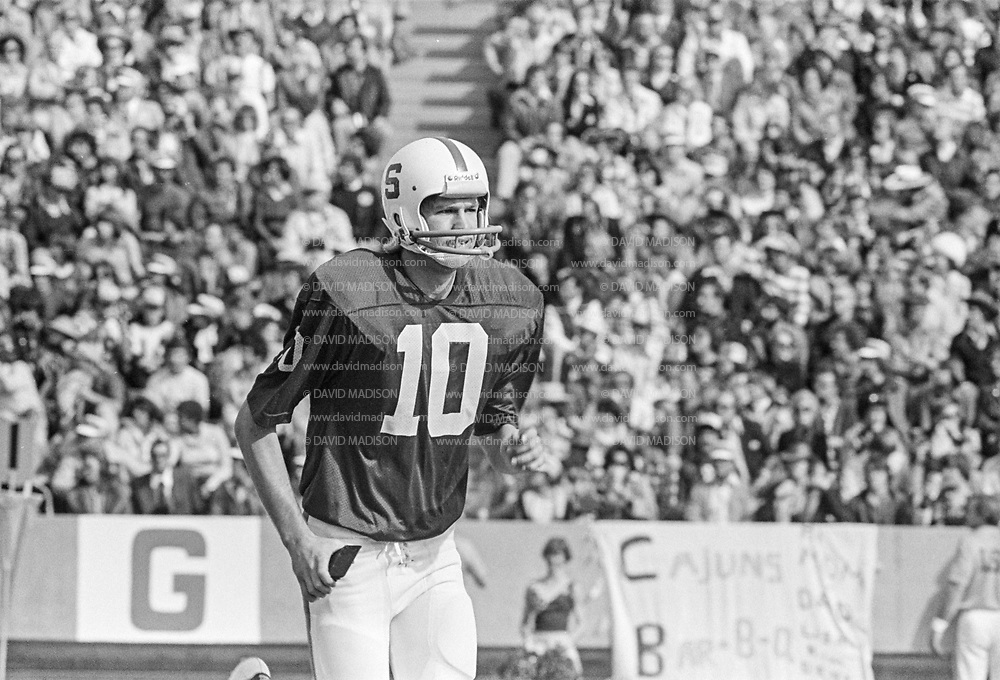 EL PASO, TX - DECEMBER 31:  1977 Sun Bowl, Stanford v LSU, December 31, 1977 at Sun Bowl Stadium, University of Texas El Paso, El Paso, Texas.  Stanford place kicker Ken Naber #10.  Photograph by David Madison | www.davidmadison.com.