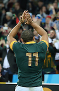 South Africa's Bryan Habana saying goodbye to fans with him possibly retiring from international rugby during the Rugby World Cup Bronze Final match between South Africa and Argentina at the Queen Elizabeth II Olympic Park, London, United Kingdom on 30 October 2015. Photo by Matthew Redman.