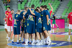 Players of Slovenia during basketball match between Slovenia and Montenegro in Round #6 of FIBA Basketball World Cup 2019 European Qualifiers, on July 1, 2018 in Arena Stozice, Ljubljana, Slovenia. Photo by Urban Urbanc / Sportida