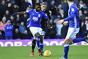 Leeds United midfielder Pawel Cibicki (22)  holds up Birmingham City midfielder Jeremie Boga (20) 0-0 during the EFL Sky Bet Championship match between Birmingham City and Leeds United at St Andrews, Birmingham, England on 30 December 2017. Photo by Alan Franklin.