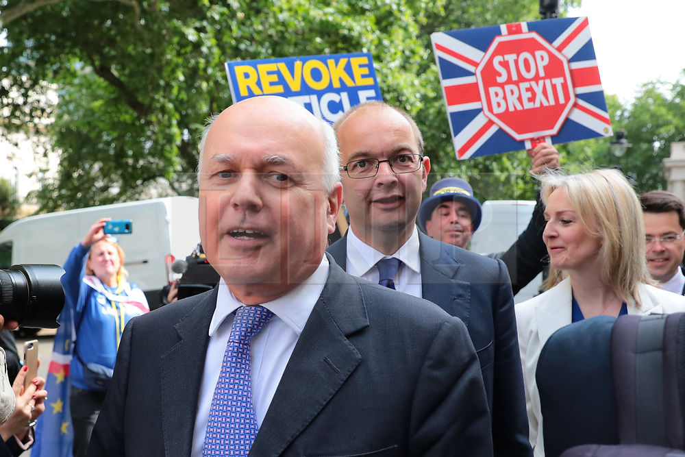 © Licensed to London News Pictures. 12/06/2019. London, UK. Ian Duncan Smith (L) and Liz Truss (R) arrive at the official launch event for Boris Johnson's campaign to become Leader of the Conservative Party and the next Prime Minister. Photo credit: Rob Pinney/LNP