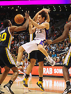 Feb. 15, 2011; Phoenix, AZ, USA; Phoenix Suns guard Steve Nash (13) makes a pass against the Utah Jazz at the US Airways Center. Mandatory Credit: Jennifer Stewart-US PRESSWIRE