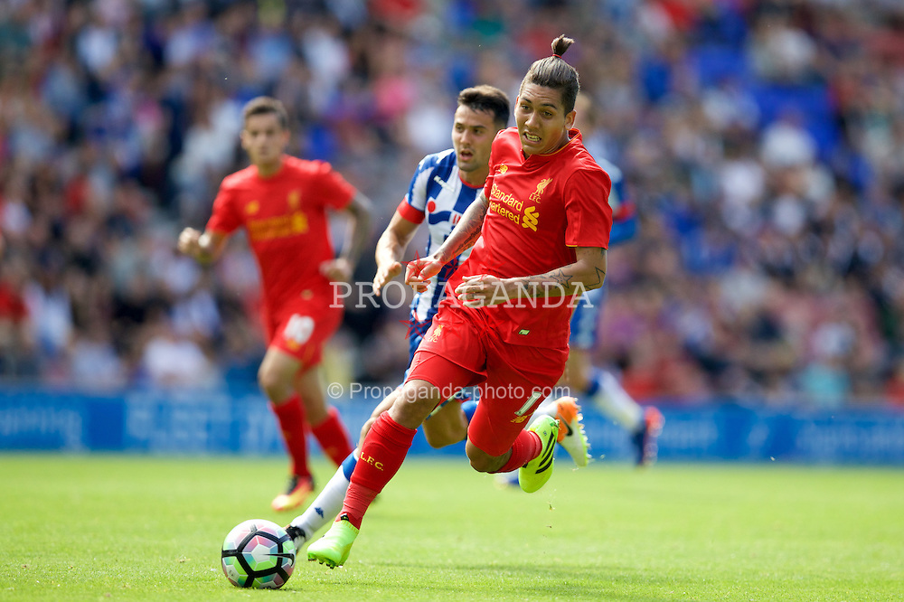 WIGAN, ENGLAND - Sunday, July 17, 2016: Liverpool's Roberto Firmino in action against Wigan Athletic during a pre-season friendly match at the DW Stadium. (Pic by David Rawcliffe/Propaganda)