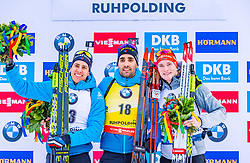 16.01.2020, Chiemgau Arena, Ruhpolding, GER, IBU Weltcup Biathlon, Sprint, Herren, Siegerehrung, im Bild v.l. Quentin Fillon Maillet (FRA), Martin Fourcade (FRA), Benedikt Doll (GER) // f.l. Quentin Fillon Maillet of France Martin Fourcade of France and Benedikt Doll of Germany during the winner ceremony for the men's sprint competition of BMW IBU Biathlon World Cup at the Chiemgau Arena in Ruhpolding, Germany on 2020/01/16. EXPA Pictures © 2020, PhotoCredit: EXPA/ Stefan Adelsberger