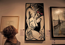 © Licensed to London News Pictures. 19/04/2012. London, U.K..Billy Childishs' 'Billy and Traci' in The Lilford Gallery section.. The Setting up of The Chelsea Art Fair in Chelsea Old Town Hall where Around 35 galleries and dealers offer modern British and contemporary art for sale, including paintings, drawings, etchings and sculptures. Represents 500 international artists, with art worth up to £20k. The fair runs from 19th April - 22nd April..Photo credit : Rich Bowen/LNP