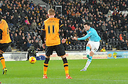 Derby County's George Thorne has a shot at goal during the Sky Bet Championship match between Hull City and Derby County at the KC Stadium, Kingston upon Hull, England on 27 November 2015. Photo by Ian Lyall.