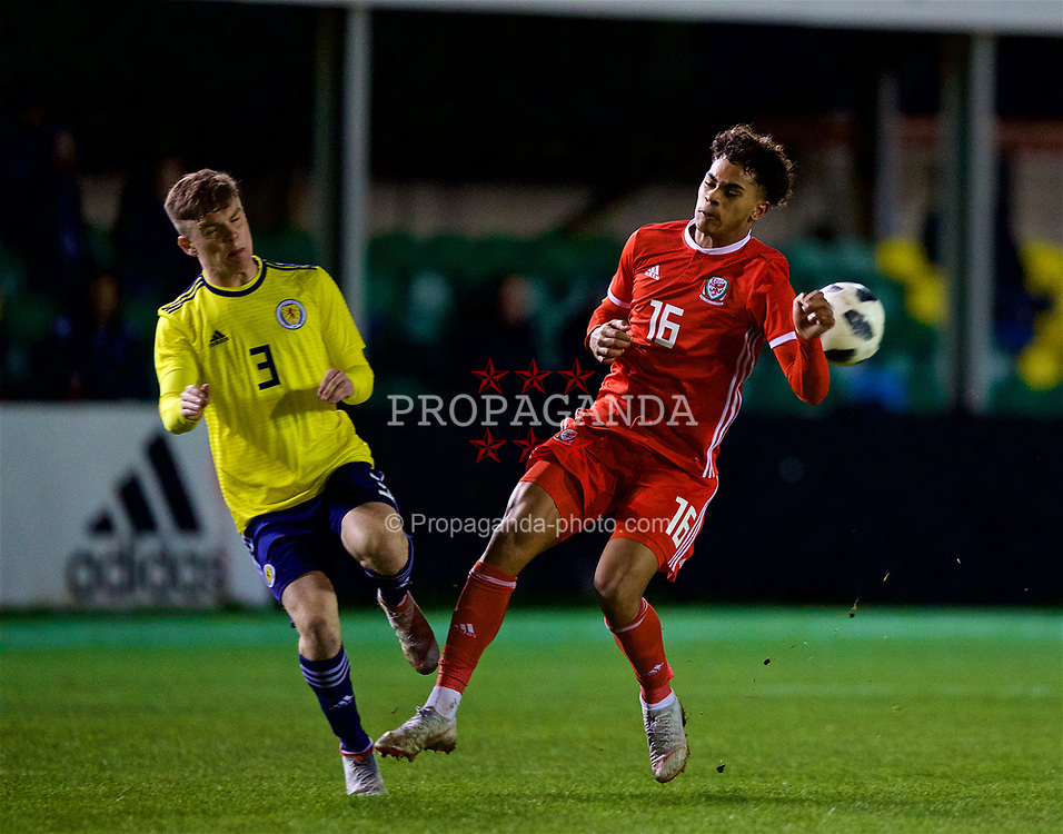 RHYL, WALES - Wednesday, November 14, 2018: Wales' Christian Norton and Scotland's Daniel Church during the UEFA Under-19 Championship 2019 Qualifying Group 4 match between Wales and Scotland at Belle Vue. (Pic by Paul Greenwood/Propaganda)