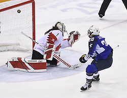 February 22, 2018 - Pyeongchang, South Korea - US Olympic Womenâ€'s hockey team member AMANDA KESSEL gets an overtime penalty shot past Canada goalie SHANNON SZABADOS during the shootout of their 3-2 overtime win over Canada in the Women's Gold Medal Ice Hockey game Thursday, February 22, 2018 at Gangneung Hockey Centre at the Pyeongchang Winter Olympic Games. Photo by Mark Reis, ZUMA Press/The Gazette (Credit Image: © Mark Reis via ZUMA Wire)