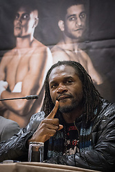 © Licensed to London News Pictures . FILE PICTURE DATED 25/04/2013 of British Olympic gold medalist boxer , AUDLEY HARRISON at a press conference in Sheffield , UK , as Harrison today (Tuesday 21 May 2013) announces he is not retiring from boxing despite having announced his retirement three weeks ago (1 May 2013) . Photo credit : Joel Goodman/LNP
