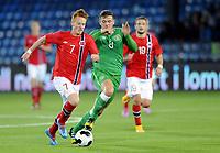Fotball<br /> Privatlandskamp U21<br /> Norge v Irland / Norway v Ireland<br /> 09.10.2014<br /> Foto: Morten Olsen, Digitalsport<br /> <br /> Martin Rønning Ovenstad (7) - Strømsgodset / NOR<br /> Pierce Sweeney (8) - Reading / IRL