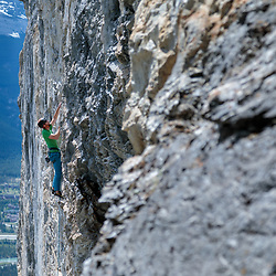 Jas Fauteux leading Blood Line, 5.11a at Bataan, Canmore, Alberta