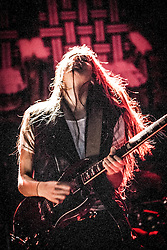 Lead vocalist guitarist Danielle Haim with the band Haim.<br /> Haim play on stage at Glasgow's O2 ABC on Sauchiehall Street.