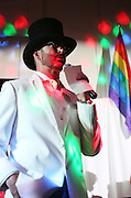 Dwight Cox gives a speech Saturday at the Circus Masquerade about why he should be crowned King of Shoals Pridefest in Florence. Cox won the title.