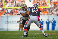 06 October 2013: Defensive end (94) Cameron Jordan of the New Orleans Saints rushes against (62) Eben Britton of the Chicago Bears during the first half of the Saints 26-18 victory over the Bears in an NFL Game at Soldier Field in Chicago, IL.