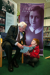 Edinburgh's Bailie Elaine Aitken opened Firrhill High School's 'The Anne Frank: A History For Today' exhibition  today. Baillie Aitken was joined by Heather Boyce from the Anne Frank Trust and second generation Holocaust survivors who spoke of their family members' memories of the war. The ceremony was attended by pupils from Firrhill High, local primary schools and retirement home residents from Old Farm Court and Caiystane Court. Stephan Brent, who was one of the 10,000 children sent to the UK as part of the Kindertransport, spoke movingly of his experience of arriving in Scotland to Tommy from Longstone Primary School. 29 April 2014 (c) GER HARLEY | StockPix.eu