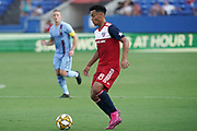 FC Dallas midfielder Brandon Servania (18) prepare for a pass while NYCFC midfielder Alexander Ring (8) follows during a MLS soccer game, Sunday, Sept. 22, 2019, in Frisco, Tex. FC Dallas and New York FC draw 1-1 (Wayne Gooden/Image of Sport)