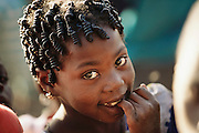 Mal.mw2.70.xs..Young girl with tightly woven hair, Kouakourou, Mali. Child, Children, Africa..