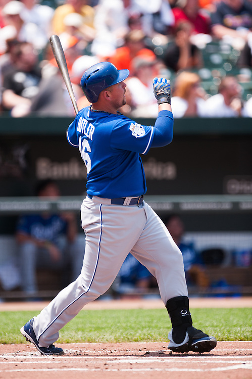 BALTIMORE, MD - MAY 27: Billy Butler #16 of the Kansas City Royals hits a home run during the game against the Baltimore Orioles at Oriole Park at Camden Yards on May 27, 2012 in Baltimore, Maryland. (Photo by Rob Tringali) *** Local Caption *** Billy Butler