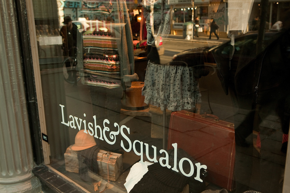 The shop window of ironically-named Lavish & Squalor, a store on Toronto's trendy Queen Street West.