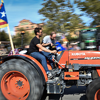 Barcelona, Spain - 10 October 2017: Pro-Independence Catalan farmers arrive with tractors at Arc de Triomf ahead of tonight's Puigdemont's announcement.