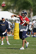 SAN DIEGO - JUNE 10:  Quarterback (free agent acquisition from the Miami Dolphins) A.J. Feeley #7 of the San Diego Chargers unloads a pass during minicamp at the San Diego Chargers Park practice field on June 10, 2006 in San Diego, CA. ©Paul Anthony Spinelli *** Local Caption *** A.J. Feeley