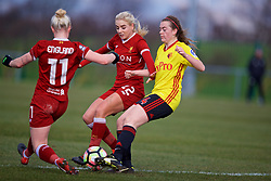 LIVERPOOL, ENGLAND - Sunday, February 4, 2018: Liverpool's Alex Greenwood and Watford's Rebecca McShane during the Women's FA Cup 4th Round match between Liverpool FC Ladies and Watford FC Ladies at Walton Hall Park. (Pic by David Rawcliffe/Propaganda)