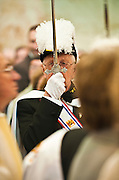 A member of the Knights of Columbus fourth degree honor guard raises his sword as clergy and candidates for ordination to the diaconate enter St. Francis Xavier Cathedral in Green Bay during the opening procession of a May 21 ordination Mass. (Sam Lucero | The Compass)