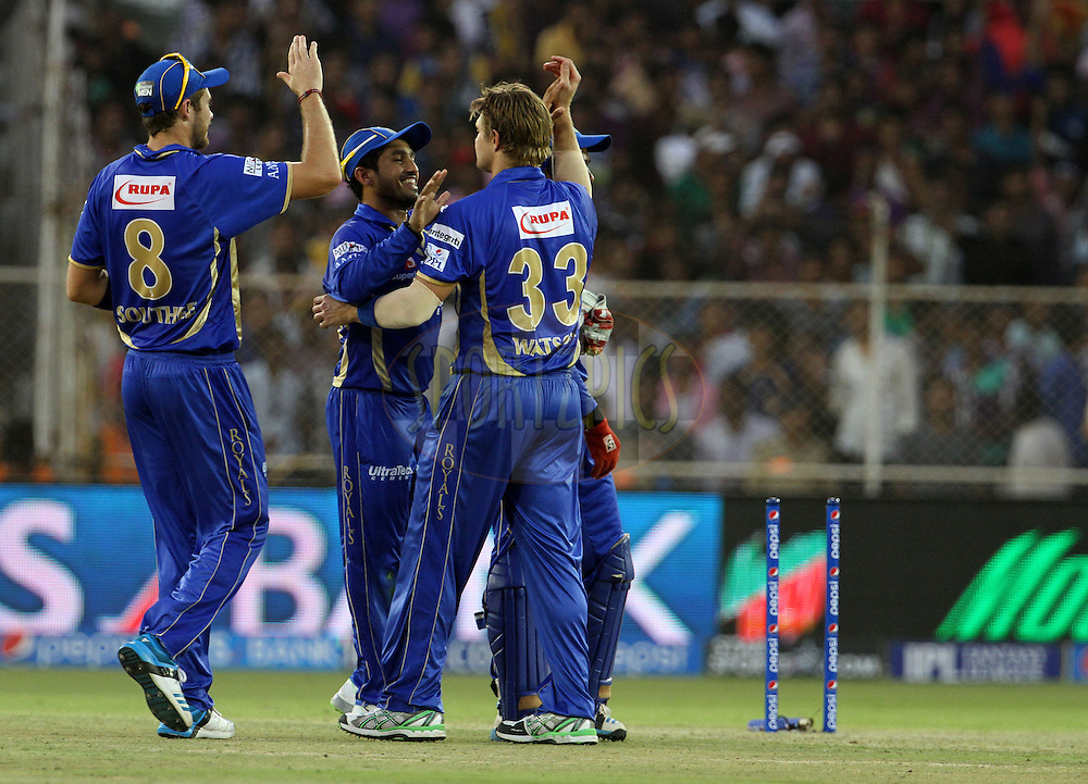 Shane Watson captain of the Rajasthan Royals celebrates with his teammates after taking the wicket of Andre Russell of the Kolkata Knight Riders during match 25 of the Pepsi Indian Premier League Season 2014 between the Rajasthan Royals and the Kolkata Knight Riders held at the Sardar Patel Stadium, Ahmedabad, India on the 5th May  2014<br /> <br /> Photo by Vipin Pawar / IPL / SPORTZPICS      <br /> <br /> <br /> <br /> Image use subject to terms and conditions which can be found here:  http://sportzpics.photoshelter.com/gallery/Pepsi-IPL-Image-terms-and-conditions/G00004VW1IVJ.gB0/C0000TScjhBM6ikg