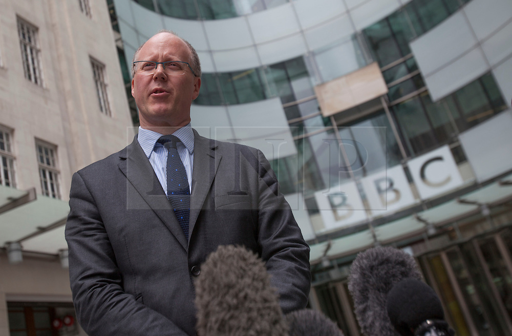 © licensed to London News Pictures. London, UK 04/07/2012.  George Entwistle, the new director of the BBC speaking to TV crews today, outside BBC's New Broadcasting House. BBC Trust Chairman Lord Patten has appointed George Entwistle as the Director-General of the BBC. Photo credit: Tolga Akmen/LNP