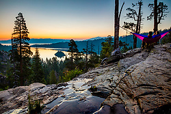 """""""Emerald Bay Sunrise 14"""" - Photograph of Lake Tahoe's Emerald Bay and the top of Eagle Falls, shot at sunrise. A couple in a hammock can be seen in the shot."""