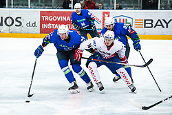 URBAS Jan (SLO), KURALT Anze vs NOVOTNY Jan (CRO) during OI pre-qualifications of Group G between Slovenia men's national ice hockey team and Croatia men's national ice hockey team, on February 7, 2020 in Ice Arena Podmezakla, Jesenice, Slovenia. Photo by Peter Podobnik / Sportida