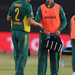Chris Morris of the (South African Proteas) with Dwaine Pretorius of the (South African Proteas) during the 2nd ODI Momentum One-Day International (ODI) series South African and Sri Lanka at Kingsmead, Durban, South Africa.1st February 2017 - (Photo by Steve Haag)