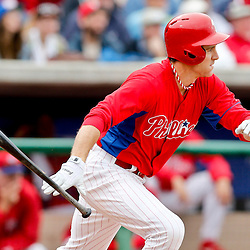 Mar 12, 2013; Clearwater, FL, USA; Philadelphia Phillies second baseman Chase Utley (26) send Ben Revere (not pictured) into score on a ground out against the Detroit Tigers  during the bottom of the first inning of a spring training game at Bright House Field. Mandatory Credit: Derick E. Hingle-USA TODAY Sports