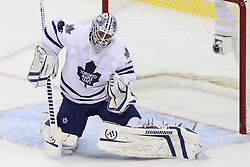 Nov 2; Newark, NJ, USA; Toronto Maple Leafs goalie Jonas Gustavsson (50) makes a save during the second period at the Prudential Center.